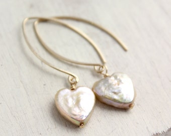 Pearl Heart on Petal Shaped Gold Earwires