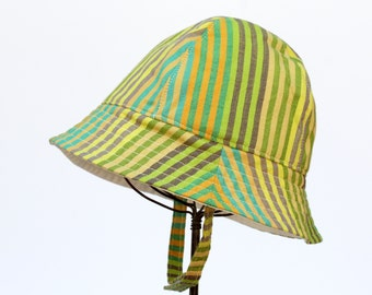 Toddler and Baby Sun Hat in Green Stripe