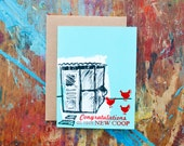 Congratulations on Your New Coop (COA-02) House Warming Chickens Rooster New Home Bright Blue Red Screen Print Blank Inside