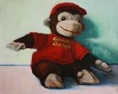 Curious George stuffed animal 8x10 giclee print of original painting