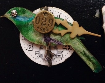 Bird brooch vintage watch parts dial steampunk   new and vintage zne gift for her Christmas present