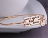 Music Bracelet, Where Words Fail Music Speaks Bangle Bracelet, Music Lover Jewelry Gift, Music Note