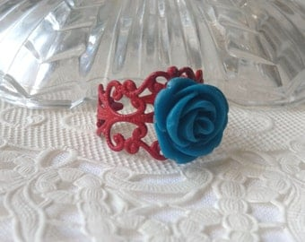 Red and Royal Blue Floral Ring Pretty Red and Blue Flower Ring  Royal Blue Red Flower Ring Red Blue Floral Ring