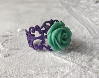Purple and Green Floral Ring Pretty Green Flower Ring  Dark Purple Flower Ring