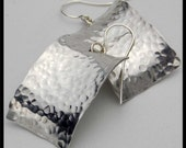 EGYPTIAN - Handforged Hammered Curved Pewter & Sterling Silver Earrings