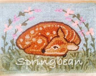 Fawn Rug Hooking pattern springbean Fawnly spring