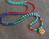 Lotus flower knotted silk gemstone and seed bead necklace. Yoga rebirth necklace.