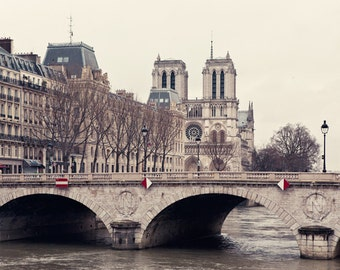 "Notre Dame Art, Paris Architecture Print, Paris Photography, Beige Art Print, Seine Bridge  - ""The Invention of Paris"""