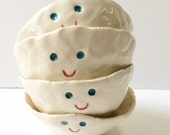 4 happy face pots - hand formed ceramic cups