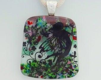 Fantasy Jewelry, Glass Fairy Pendant, Fused Glass Pendant,  Stone Look Glass Pendant, Square Glass Pendant  - Fairy Garden Pendant