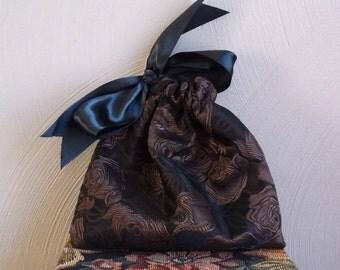 Gift Bag Brown Roses on Black with Black Satin Ribbon