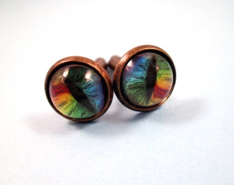 Cuff Links, Eye See You, Serpent or Cat Eye Cuff Links, Vintage Brass Settings, FREE Shipping U.S.
