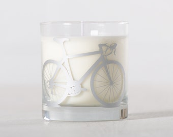 Silver Bike Candle - Tuscan Winter - Soy candle in reuseable screen printed bicycle rocks glass