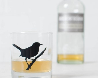 Wren old fashioned glass, bird silhouette, black screen printed rocks glass
