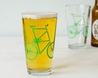 TALL BIKE Pint Glass - bicycle drinking glasses, green bike
