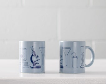 Science Tools mug - Grey and Navy - hand screen printed chemistry themed coffee cup