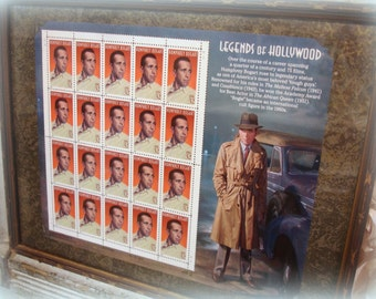 framed legends of hollywood humphrey bogart stamps  stamp sheet issued 31 july 1997 antique wood frame under glass