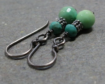 Mint Green Earrings Chrysoprase Seafoam Oxidized Sterling Silver Earrings