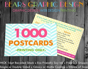 1000 Printed Postcards, Postcard Printing, Matte or Glossy, Display Card Printing for Hair Bows, Jewelry