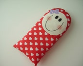 SOFTIE - HANDMADE gift - Pillow Baby - pillow doll girl red with white hearts toy - toddler - next day ship