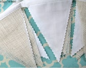 White and Burlap Wedding party decoration. Fabric sewn Burlap flag Banner. Photo prop. 12 Pennant flags DIY customize