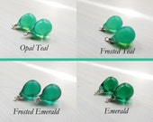 10x14 round czech glass teardrops - Teal and emerald - teardrops only - pick your color - interchangeable earrings - one pair