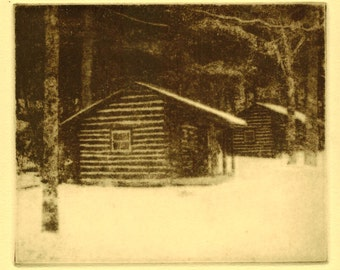 Cook Forest Cabins original hand printed photo etching