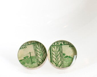Button earrings | Postage stamp | Paraguay | Green | Post