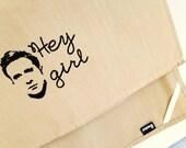 Hey girl Ryan Gosling kitchen dish towel. Silk screened cotton tea towel.