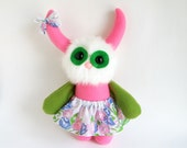 Monster Girl Doll Stuffed Animal Plush Toy Handmade Rag Doll Girls Skirt Pink Green