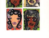 ACEO Set 4 Original Paintings, Art Cards, Outsider Art, Expressionism