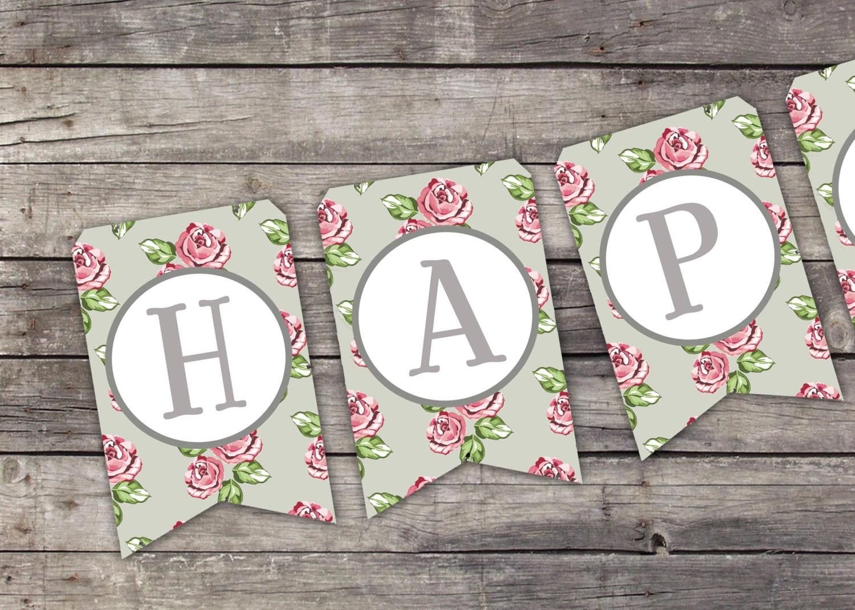 Printable HAPPY BIRTHDAY BANNER Vintage Floral Printable