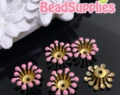 FG-EX-08003SP -  Nickel Free, Raw Brass, Flower bud beadcap,sakura pink, 12pcs