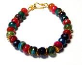 Multi Color Quartz Bracelet, Gold Vermeil Beaded Gem Bracelet