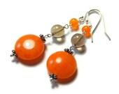 Orange Drop Earrings, Smoky Quartz, Tangerine Quartzite, Orange and Brown Sterling Silver Earrings