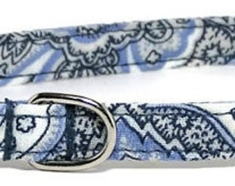 XS Dog Collar - Vintage Blue Paisley - Extra Small, Teacup, Miniature - Fancy, Soft and Handmade
