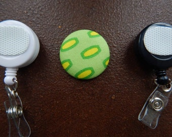 Fabric Covered Button for Clip on Retractable Badge Reel - Green and Yellow