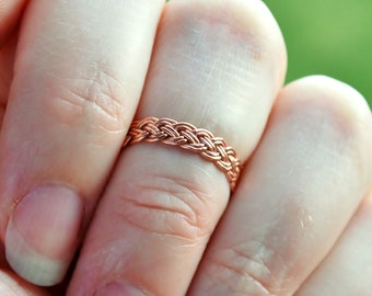 Celtic Copper Braided Ring Solid Bright Shiny Copper Braid Handmade Thin Lightweight Band for Arthritis Finger Joint Pain