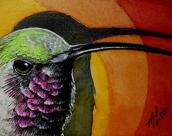 Humming Bird Art  by Melody Lea Lamb ACEO Giclee Print