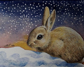 Bunny Rabbit and Snow Art by Melody Lea Lamb ACEO Print #118