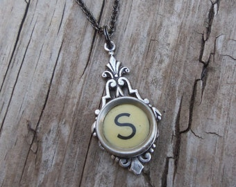 Letter S Typewriter Key Necklace