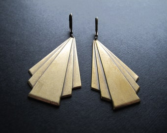 Large Brass Art Deco Earrings, Geometric Dangle Earrings, Oxidized Brass Jewelry