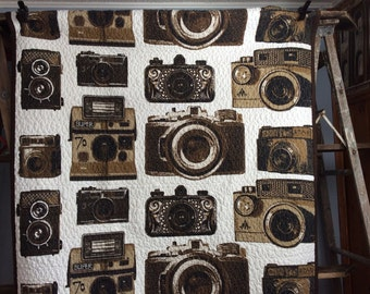 Made to Order -- Large quilted throw -- vintage cameras -- photographer quilt