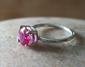 Ruby Ring 8 mm in Sterling Silver, July Birthstone, Prong Set Gemstone, Size 2 to 15,Stacking Solitaire Engagement Faceted Ring,Gift for Her