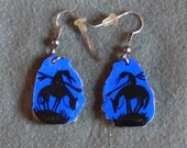 Antler Earrings Blue End of the Trail-Hand Painted