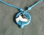 Pressed Foil Glass Alpine Necklace-Blue