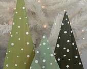 HANDPAINTED Rustic Wood Christmas Tree Decor Set of 3 in GREENS 2 - SALE! was 32.00