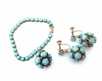 Vintage 1950s Turquoise Blue Rhinestone Orb Sphere Bracelet and Earrings