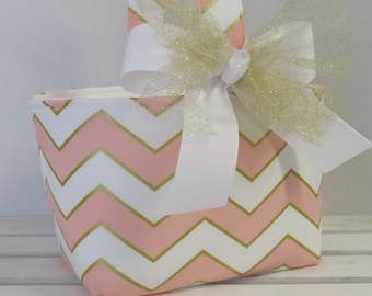 Easter Fabric Candy Basket Bin Bucket Egg Hunt Storage Container - Pink Gold White Chevron ZigZag Fabric - PERSONALIZED/ Name Tag Available