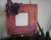 Mixed Media  Picture Frame Unique Altered Art  Finnabair Style 3d Iridescent  Free Priority Shipping in USA